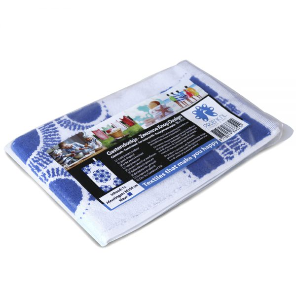 Gastendoekje Zeeuwse knop wit-blauw foto 3