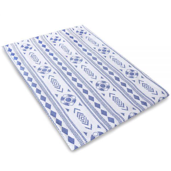 Theedoek Zeeuws schortebont wit blauw foto 2