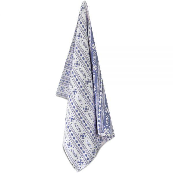 Theedoek Zeeuws schortebont wit blauw