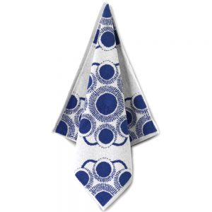 Zeeuwse knop keuken en handdoek wit blauw