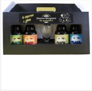Geschenkverpakking zeeuws biergenot 4 flesjes + glas